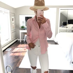 Pink white stripe fitted button down shirt small